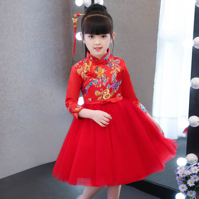 05d344e7034 Online Shop 2019 New Chinese Style Children Girls Red Color Embroidery  Flowers Princess ball Gown Dress Kids New Year Birthday Party Dress
