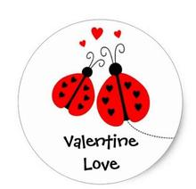 1.5inch Ladybugs In Love Valentine Stickers