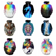 Male  2017 New Pattern Hoodies Paint 3D Printing Men Lovers Even Hat Pullover Casual Autumn and Winter Band Clothing