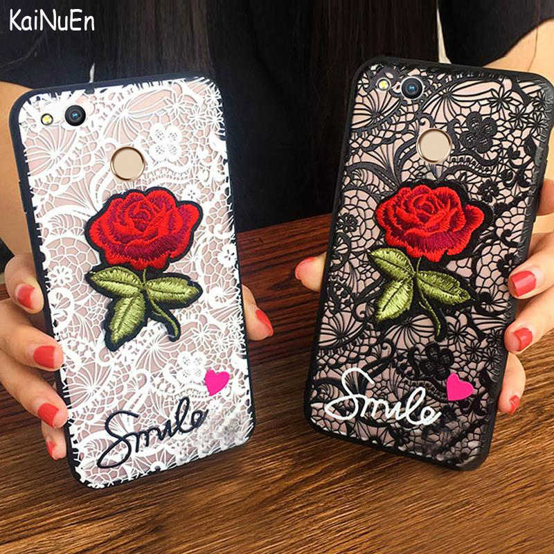 KaiNuEn luxury fashion Lace Embroidery 3D rose Phone Back cover coque case For huawei p8 lite 2017 = honor 8 lite = p9 Lite 2017