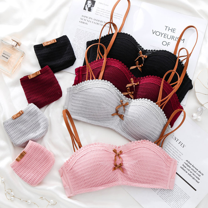 9e107078bf61 Wasteheart primavera Rosa rojo precioso arco de moda de las mujeres  acolchado sujetadores bragas de algodón Bra ropa interior conjuntos de ropa  ...