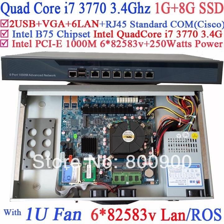 1U self-inquiry terminals server with 6 Gigabit 82583v Lan Intel QuadCore i7 3770 3.4Ghz Wayos PFSense ROS support 1G RAM 8G SSD network security solution 1u router with two sfp intel i350 six 82583v gigabit lan intel quad core i7 3770 3 4ghz 2g ram 8g ssd