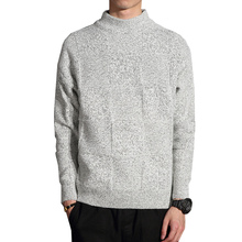 Mens 2018 Autumn Winter Sweater Jumper Solid Color Knitting Pullovers Male Warm Casual Plaid Turtleneck Plus Size 5XL