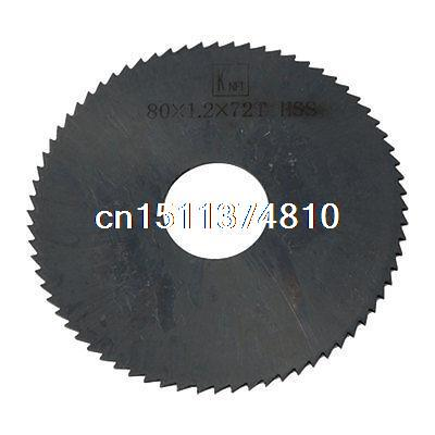 80mm x 1.2mm 72 Teeth 22mm Arbor Hole Dia Black HSS Slitting Saw Blade