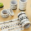 5 pcs/lot black&white washi adhesive masking tape DIY album decorative tape kawaii stationery scrapbooking stickers