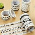 5 unids/lote negro y blanco cinta adhesiva cinta adhesiva del washi DIY álbum decorativos papelería kawaii scrapbooking pegatinas