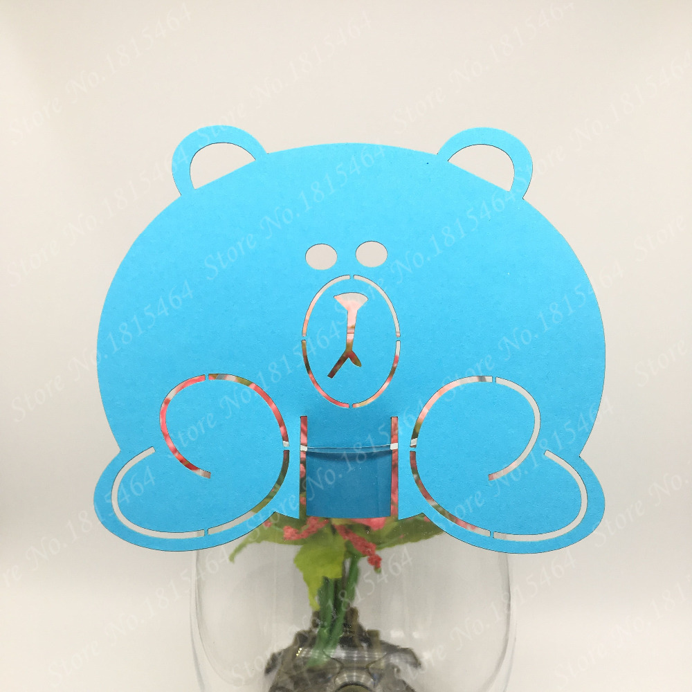 50pcs Lovely Bear Wine Glass Cup Paper Card For Baptism Birthday Party/Table Decoration/Home Decor Baby Shower Name Place Cards
