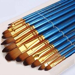 12 шт., разные размеры, головка филберта, акварельная кисть, ручка, Синяя Нейлоновая акриловая кисть, набор красок, канцелярские товары для ру...