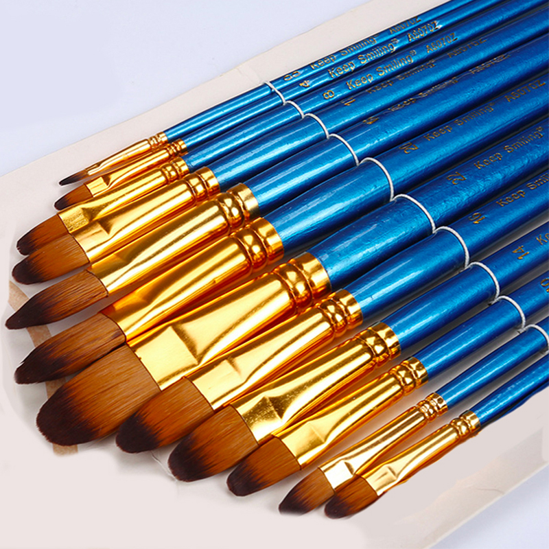 12 Pieces Mixed Size Filbert Head Watercolor Painting Brush Pen Blue Nylon Acrylic Brush Paint Set Stationery Art Supplies