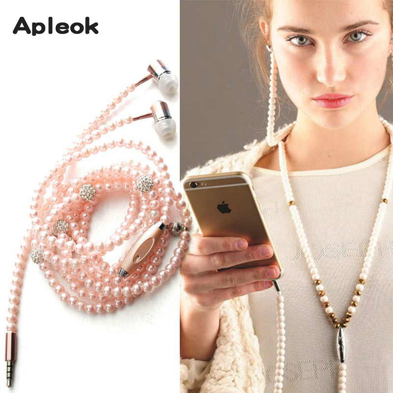Pink Girl Wired Headset Rhinestone Jewelry Pearl Necklace Earphones With Mic 3.5mm Earbuds For Xiaomi Mi6 Huawei Fone De Ouvido