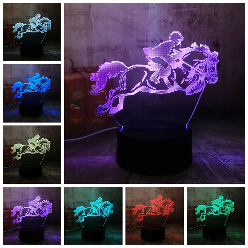 New Equestrian Riding Horse 7 Color Change 3D Visual LED Night Light Kids Touch USB Table Lamp Baby Sleeping Decor Sports Gifts cool skull middle finger 3d skull decor 3d usb led lamp pop rock music boy room decor 7 colors change night light visual illusio