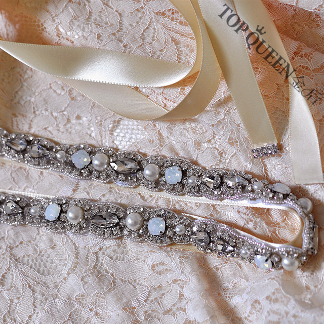 TOPQUEEN S274 Free shippin STOCK Rhinestones Pearls Wedding Belts,Bridal Belts sashes,Bridal Wedding sashes Belts