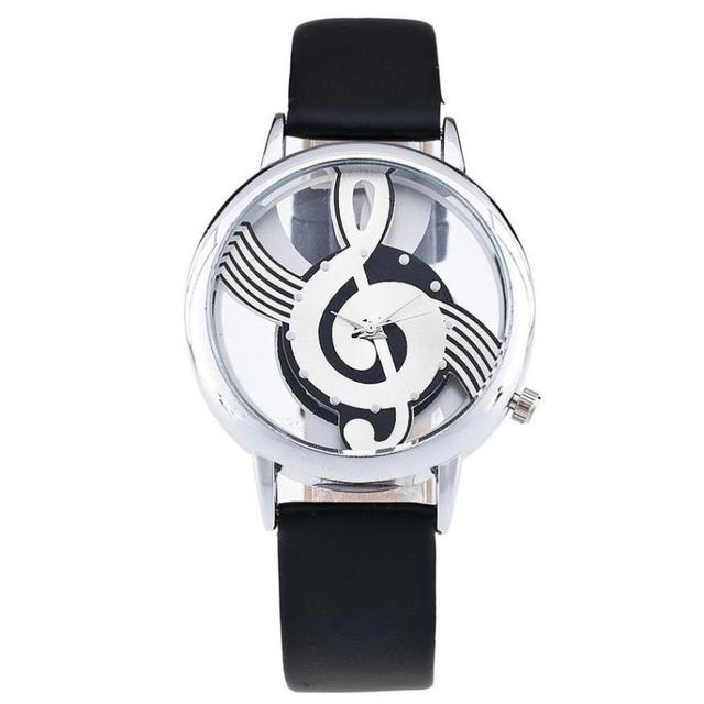 Women's Casual Watches Musical Symbol Dial Quartz Leather Strap Analog Wrist Watch Fashion Women Dress Watch relogio feminino