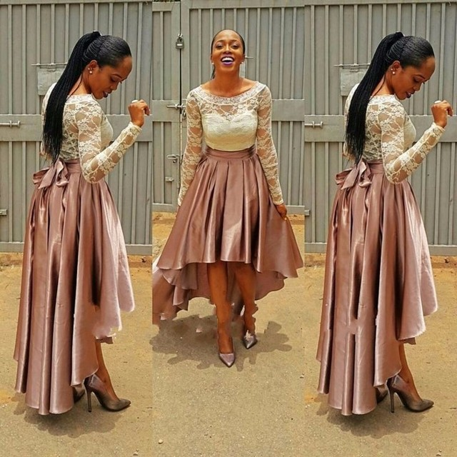 b5e4da308a53 Two Pieces Long Sleeve Scoop Neck Lace Top High Low Satin Skirt A Line Prom  Dress Party Dress vestido de festa robe de soiree