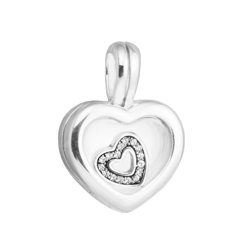 Плавающей сердце медальон болтаться Талисманы Серебро 925 поделок ювелирные Fit Подвески Ожерелья для мужчин стерлингового-серебро-ювелирны...