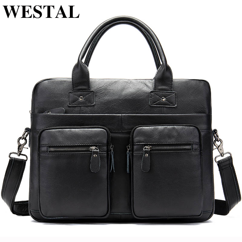 WESTAL Business Men Briefcases Bags Men's Bag Genuine Leather Office Bags For Men Briefcase For Laptop Bag 14inch Handbags 8380