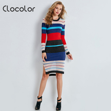 Clocolor Women Bodycon Dress Striped Color Block Round Neck Dress Long Sleeve Blue Mid Calf Autumn 2017 Women Sweater Dress