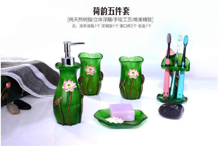 5 sztuk/zestaw lotosu kwiaty liście serii dostaw łazienka mycia zestaw kreatywny żywicy duszpasterska styl akcesoria łazienkowe zestaw