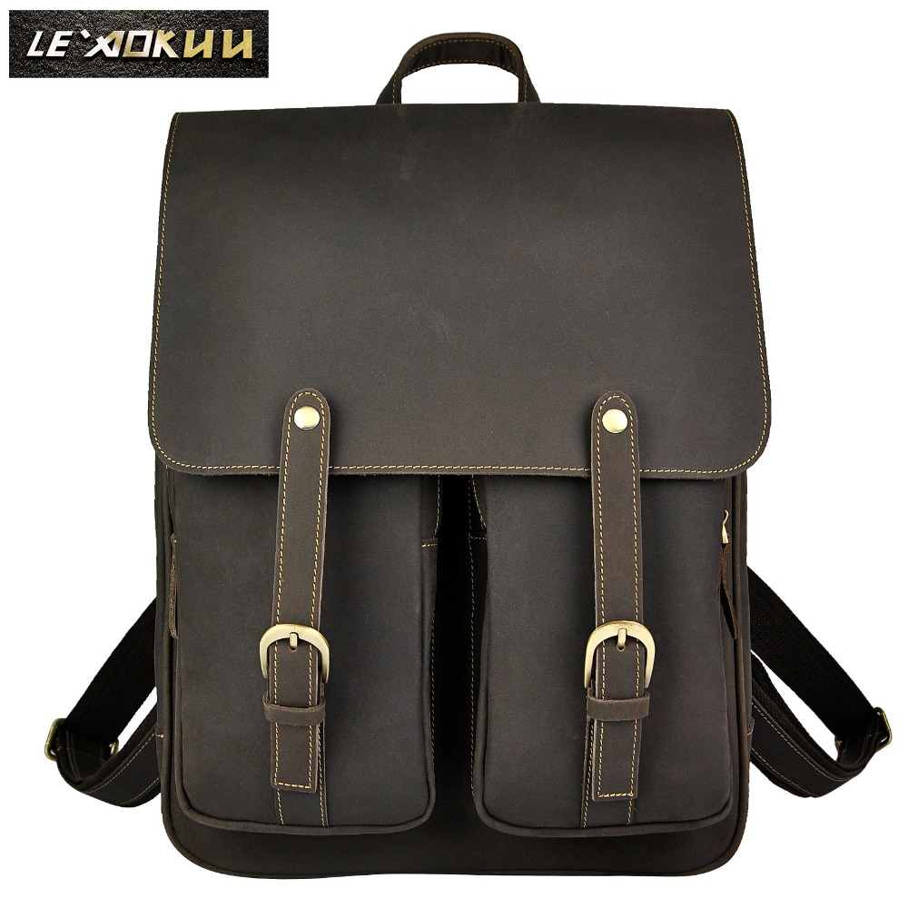 High Quality Men Male Genuine Real cowhide Leather Travel Bag School Backpack Daypack 679 design male leather casual fashion heavy duty travel school university college laptop bag backpack knapsack daypack men 1170g