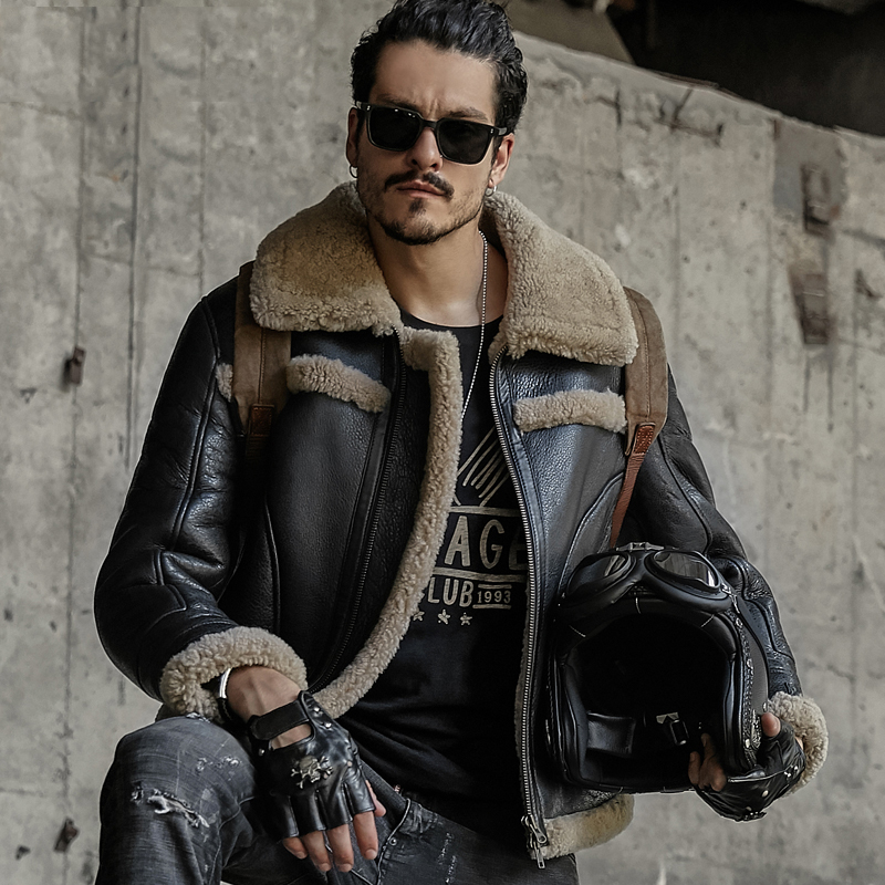 Mens Cappotto di Pelliccia B3 pelle di Pecora Outwear Mens Shearling Cappotto Degli Uomini Giacca Da Aviatore Pilota Giacca