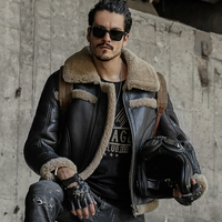 Mens Fur Coat B3 Sheepskin Outwear Mens Shearling Coat Men Aviator Jacket Pilot Jacket
