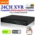 Nova 24CH Super XVR 1.5U Todos Os HD 1080 P Gravação de 3-em-1 4 * HDD Vigilância CCTV DVR Gravador De Vídeo para AHD/Analógico/Onvif Câmera IP