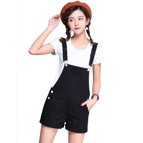 Fashion Strap Overalls Denim Shorts Women Summer Solid Candy Color Pocket Loose Shorts Jeans Preppy Style High Waist Shorts ...