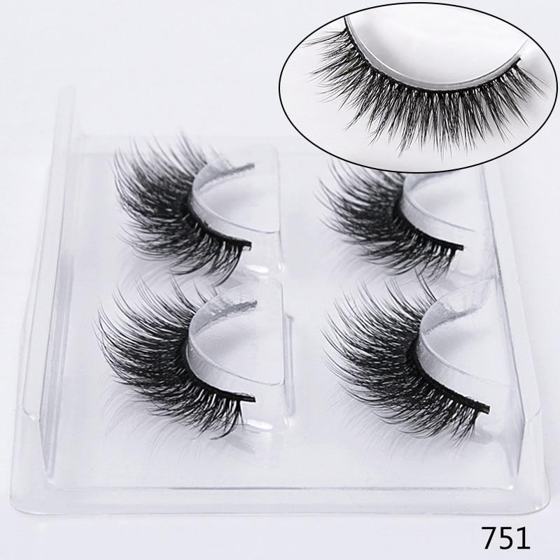 Image 4 - SEXYSHEEP 2 pairs natural false eyelashes fake lashes makeup kit 3D Mink Lashes eyelash extension mink eyelashes maquiagem-in False Eyelashes from Beauty & Health