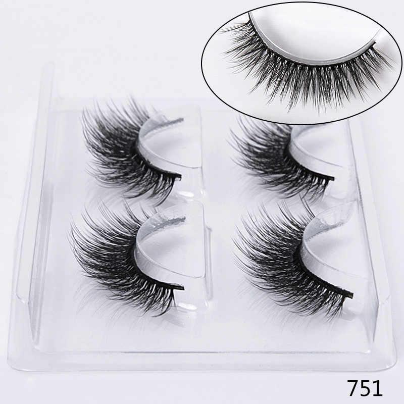 f1bfe1f75b4 ... SEXYSHEEP 2 pairs natural false eyelashes fake lashes makeup kit 3D  Mink Lashes eyelash extension mink ...