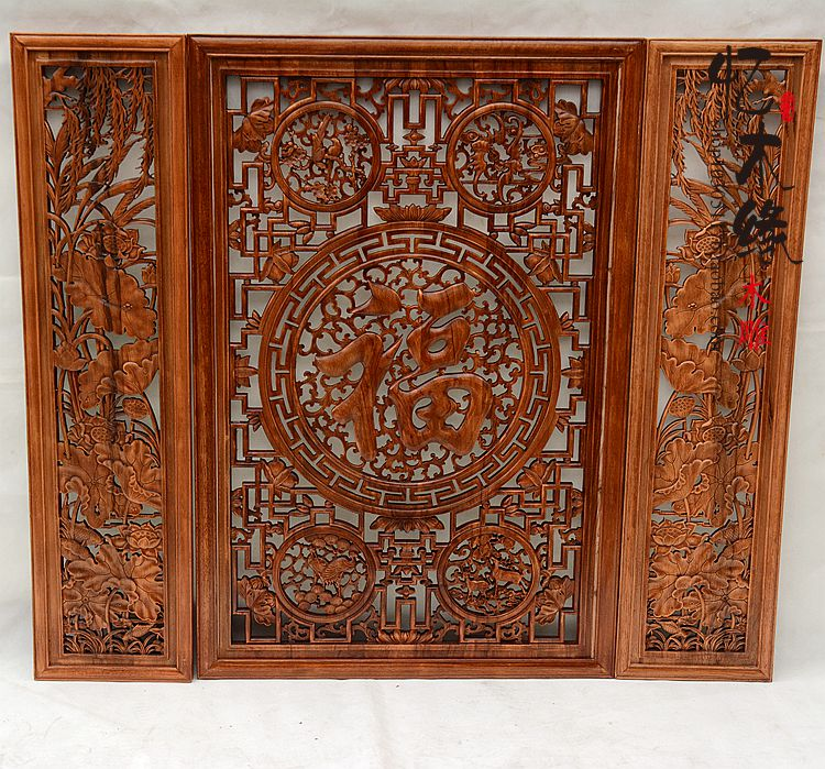 Dongyang woodcarving nave three piece pendant hanging wood camphor wood screen background wall carving Pendant
