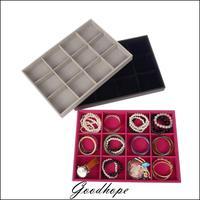Jewelry Display Box Jewellery Pallet Black Velvet 12 Grids Tray For Storage Bracelet Beads Organizer For