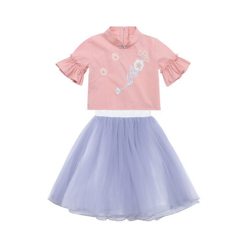 Trend Girl Dress Hanfu Children 39 s Clothing 2019 Summer New Girls Embroidery Flower Skirt Tang Suit Girl Republic Costume Set in Clothing Sets from Mother amp Kids