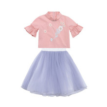 Trend Girl Dress Hanfu Childrens Clothing 2019 Summer New Girls Embroidery Flower Skirt Tang Suit Republic Costume Set