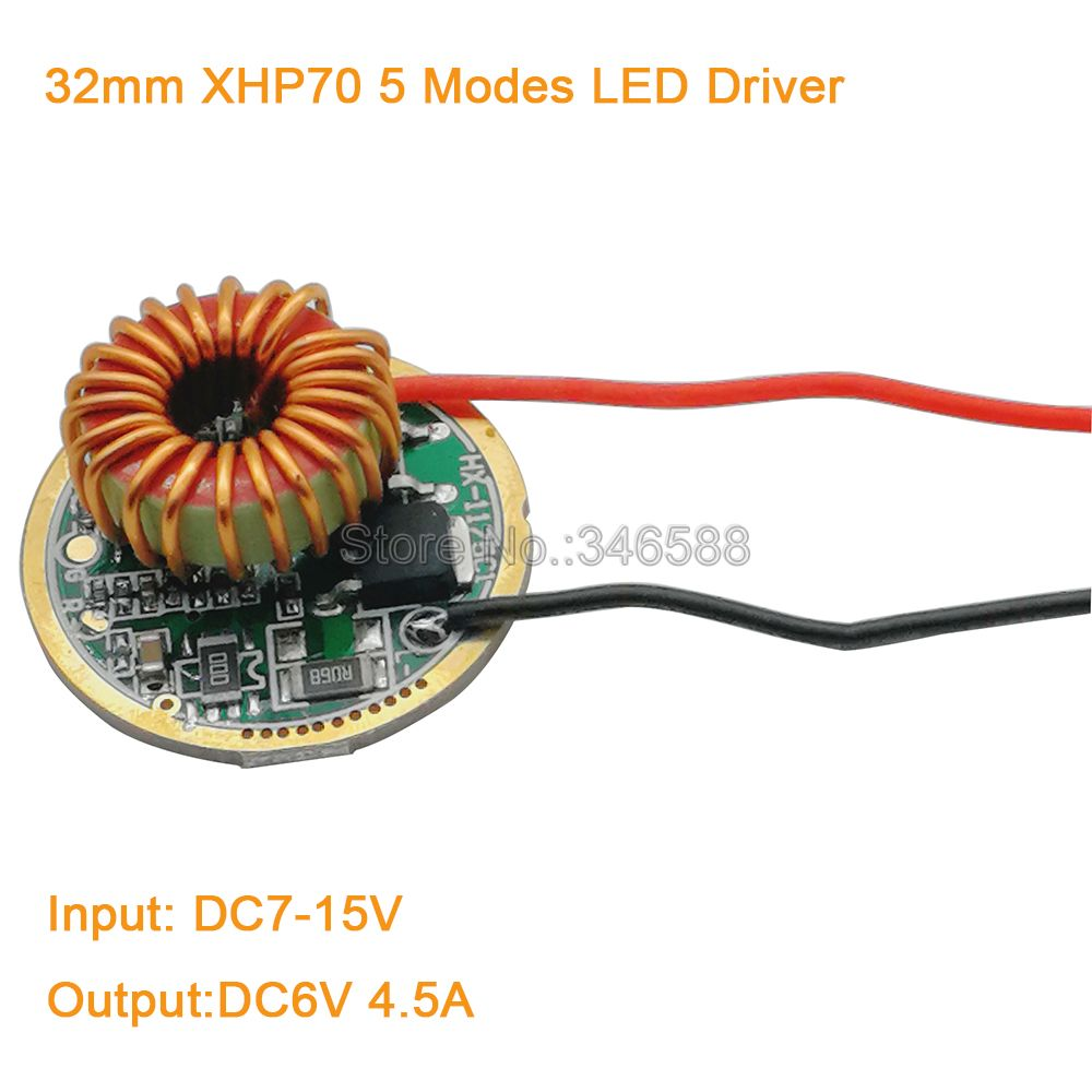 Cree XLamp XHP70 <font><b>6V</b></font> <font><b>LED</b></font> <font><b>Driver</b></font> 32MM DC7V-15V Input 4000mA Output 5 Modes For MTG XHP70 <font><b>6V</b></font> <font><b>LED</b></font> Light Lamp image