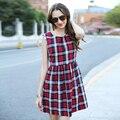 Veri Gude verão vestido xadrez vestido de mulher vestido de algodão sem mangas a-linha