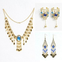 Wholesale 5 Piece Set Belly Dance Bollywood Necklace Earrings Bracelet Gold Plated Jewelry Set Indian Dance