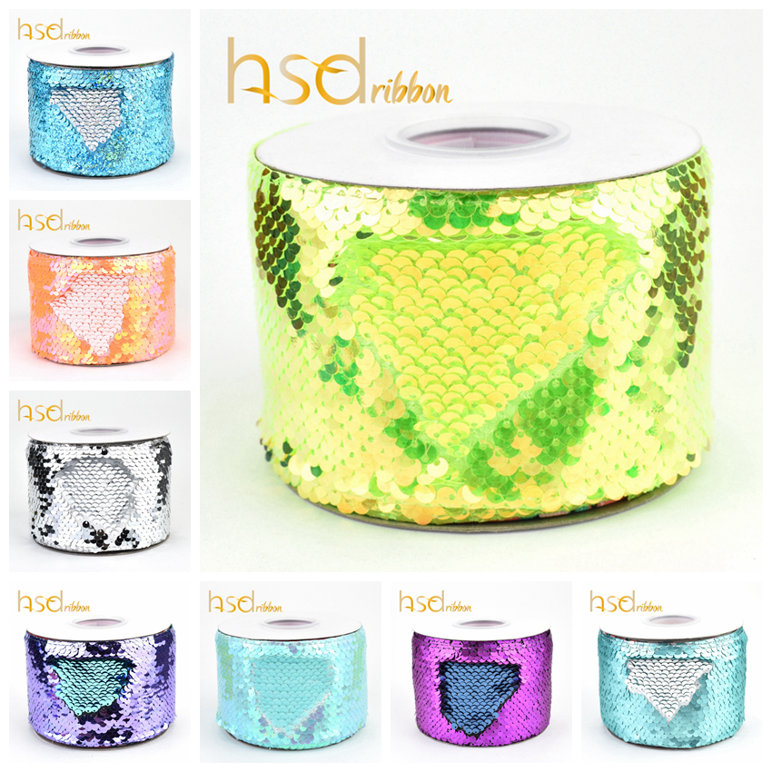 HSDRibbon factory 75mm 3 inch colorful Sequin Fabric Reversible Glitter Sequin Ribbon 25Yards Roll