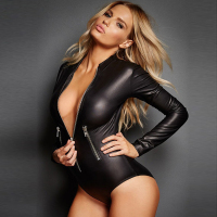 Plus Size Sexy Black Vinyl Catsuit Lingerie Long Sleeve Zipper Front Erotic Leotard Costumes Wet Look