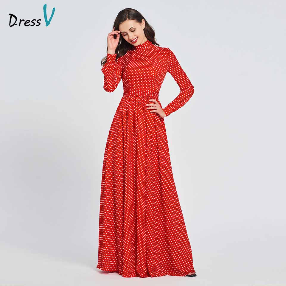 Dressv Party-Gown Long-Sleeves Elegant Evening Red High Floor-Length A-Line Customize