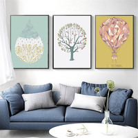 3 PCS/Set Nordic Poster Minimalist Canvas Print Decor Painting Abstract Tree Hot Air Balloon Wall Art Pictures for Living Room