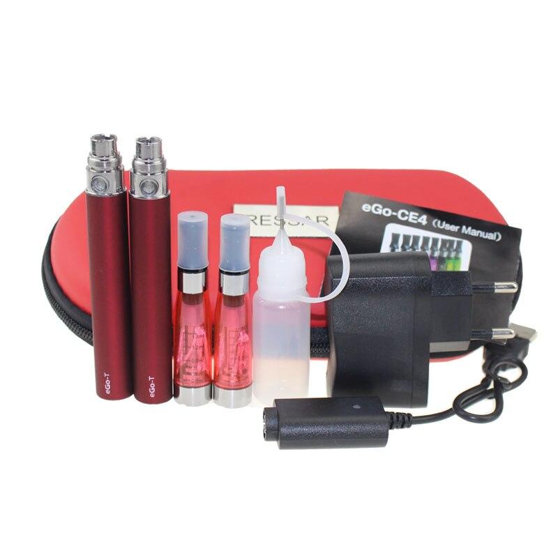 1 pc/lot Double eGo CE4 Starter Kit E Cigarette 650 900 1100 mAh eGo t batterie CE4 Atomiseur E Cig Ensemble Étui À Fermeture Éclair 11 Couleurs
