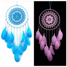 ФОТО flowers dream catcher pink girl high quality feathers wind chimes hanging dreamcatcher for home wedding decoration