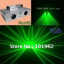 Double 200mW Green laser show system DJ KTV Club Disco Stage light ...