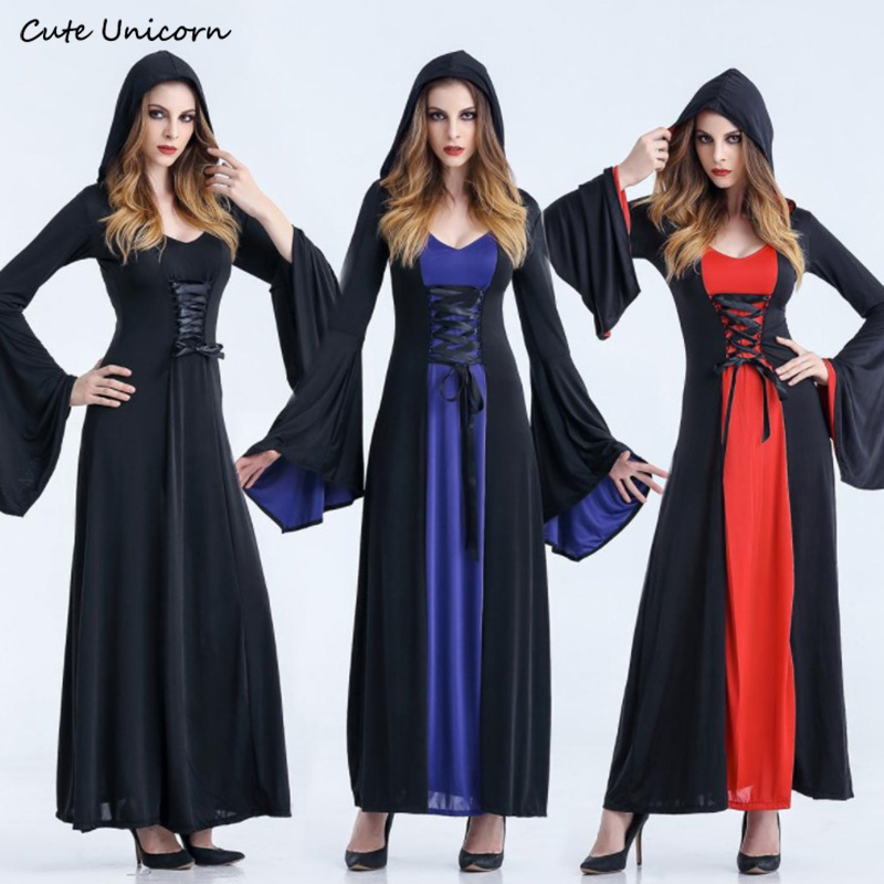Women Victorian Halloween Costume Hoodie Witch Costumes Female Long hooded Dress Cosplay Clothes Girls Victorian Dresses