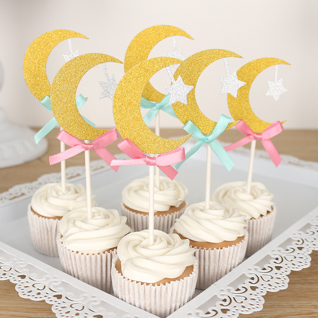 Baby Shower Cupcake Toppers   Bow Moon Cupcake Topper, Gender Reveal Party  Decor, Baby