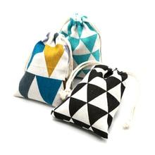 Wholesale 2pcs/lot Colorful Cotton Bags 14x16cm Wedding Decoration Linen Gift Bag Cute Watch Jewelry Packaging Bags Pouches
