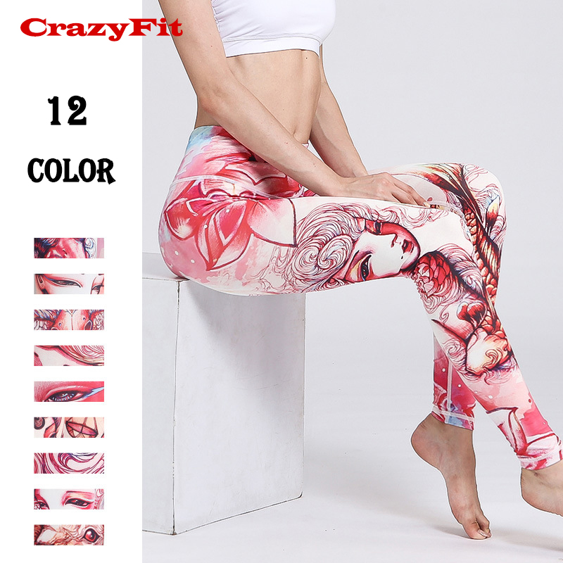 CrazyFit Yoga Leggings Women 2018 High Waist Quick Dry Gym Fitness Workout Sport Compression Female Running Tights Yoga Pants
