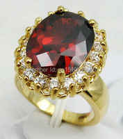 FREE SHIPPING >>>Red Cubic Zirconia STONE Yellow  Crystal Ring Size: 6.7. 8. 9