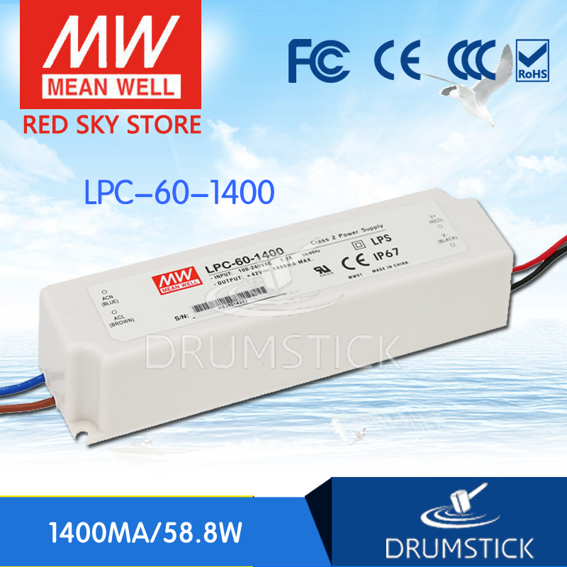 Best-selling MEAN WELL LPC-60-1400 42V 1400mA meanwell LPC-60 58.8W Single Output LED Switching Power Supply best selling mean well se 200 15 15v 14a meanwell se 200 15v 210w single output switching power supply