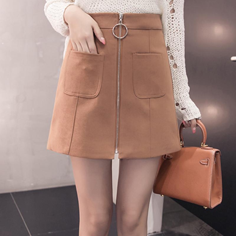 HTB1k5XHeEvMR1JjSZPcq6A1tFXaz - Suede Skirt Fashion High Waist Zippers JKP343